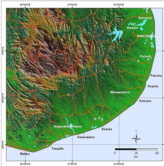 Ampara Sri Lanka  city pictures gallery : Der südliche Teil Sri Lankas Satelliten Aufnahme vonGalle und ...